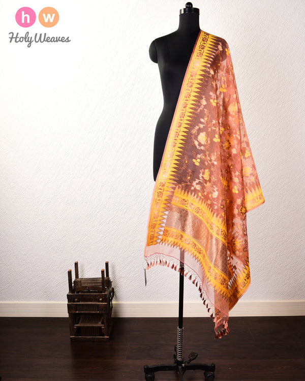 Burnished Brown Banarasi Cutwork Brocade Handwoven Kora Silk Dupatta