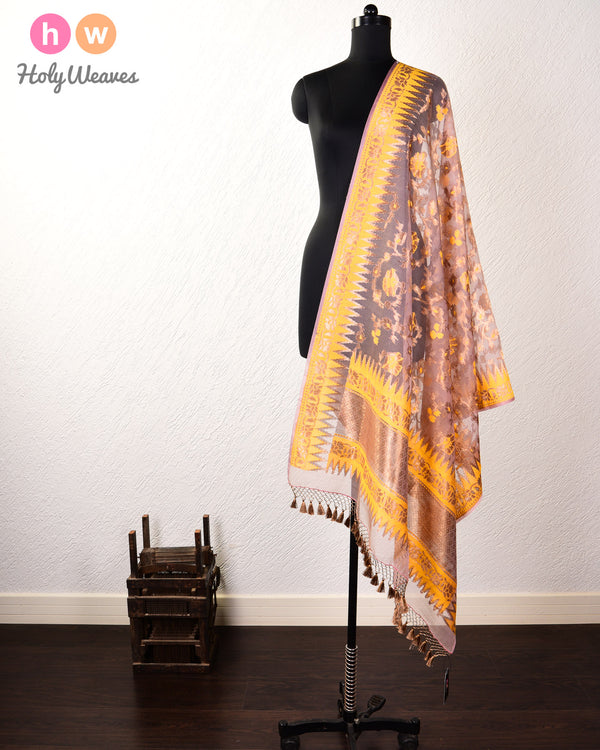 Rosy Brown Banarasi Cutwork Brocade Handwoven Kora Silk Dupatta