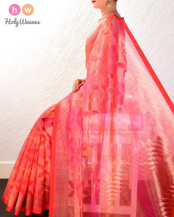 Salmon Pink Geometric Alfi Cutwork Brocade Handwoven Kora Silk Saree- HolyWeaves