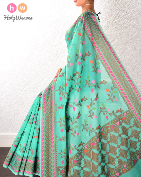 Green Banarasi Cutwork Brocade Woven Art Cotton Silk Saree
