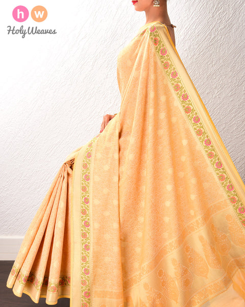 Beige Banarasi Tanchoi Brocade Woven Cotton Silk Saree