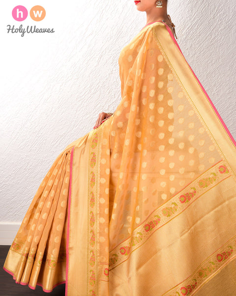 Beige Banarasi Cutwork Brocade Woven Art Cotton Silk Saree