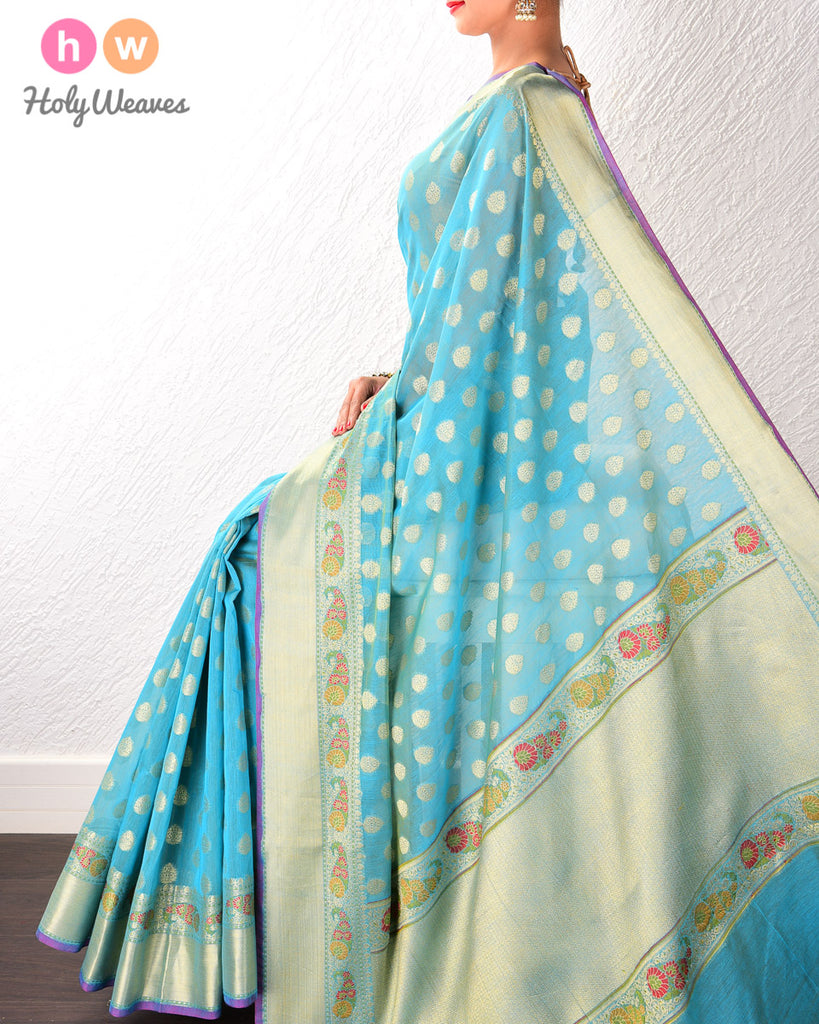 Blue Banarasi Cutwork Brocade Woven Art Cotton Silk Saree