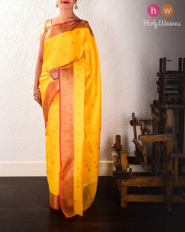 Yellow Floral Jangla Cutwork Brocade Woven Art Cotton Silk Saree