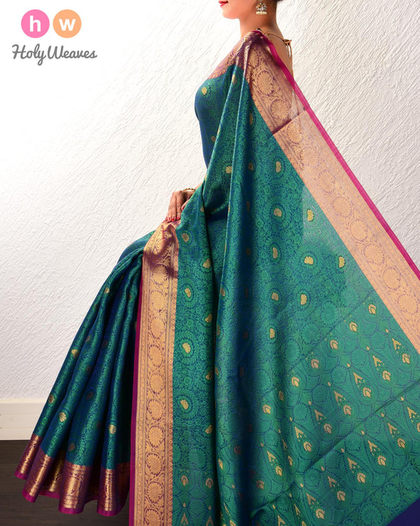 Midnight Green Floral Jangla Cutwork Brocade Woven Art Cotton Silk Saree - HolyWeaves
