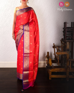 Red Floral Jangla Cutwork Brocade Woven Art Cotton Silk Saree