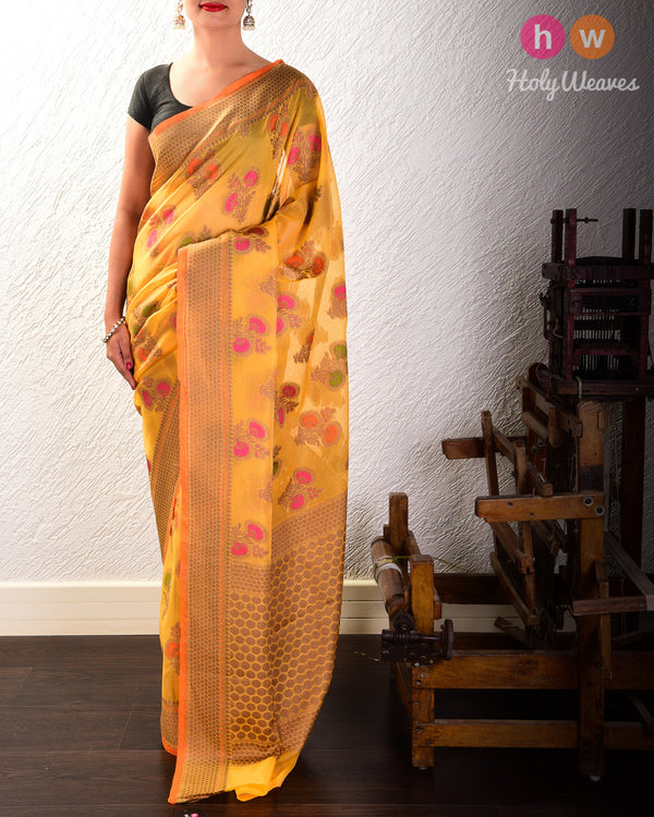 Marigold Yellow Meenedar Buta Cutwork Brocade Woven Art Cotton Silk Saree- HolyWeaves