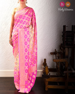 Cream-Pink Cutwork Brocade Handwoven Khaddi Georgette Saree with Red Bandhej- HolyWeaves