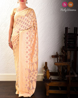 Cream Cutwork Brocade Handwoven Khaddi Georgette Saree with Red Bandhej- HolyWeaves