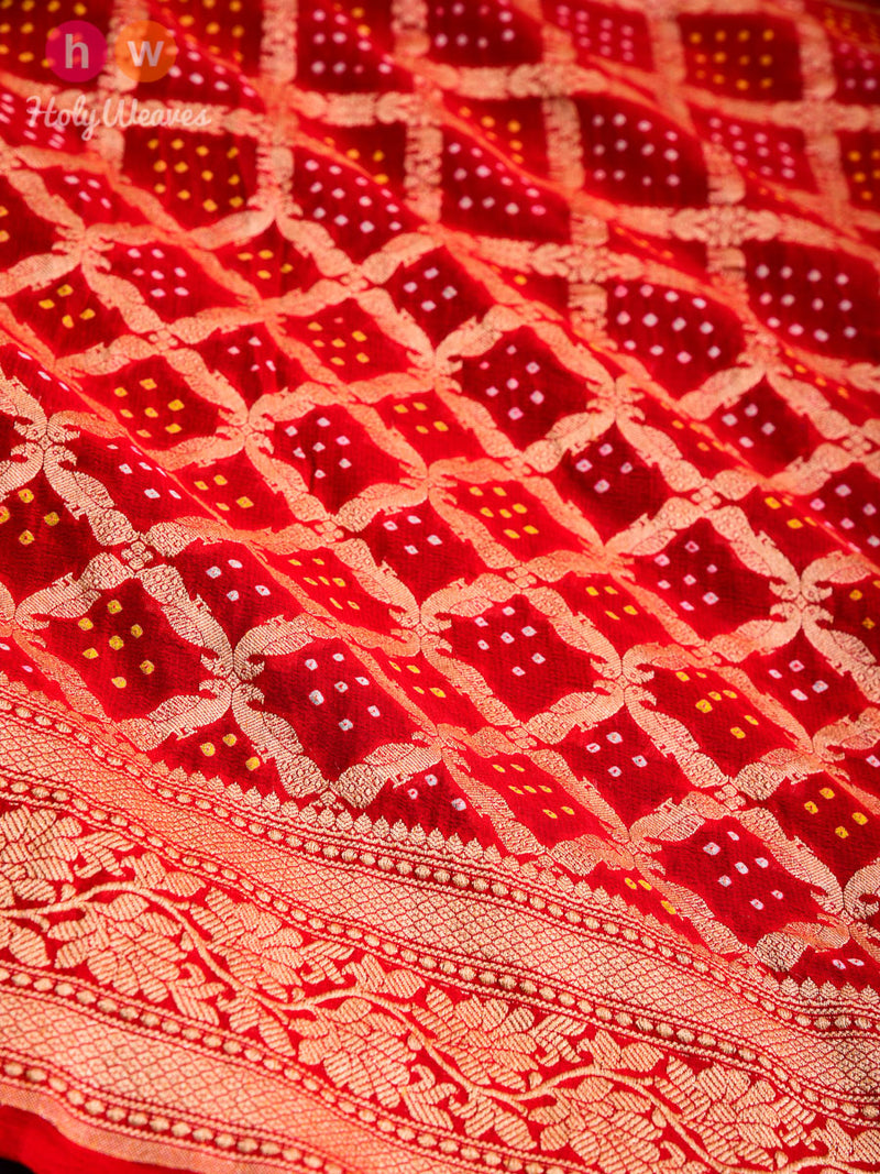 Red Cutwork Brocade Handwoven Khaddi Georgette Dupatta with 2-color Bandhej - HolyWeaves
