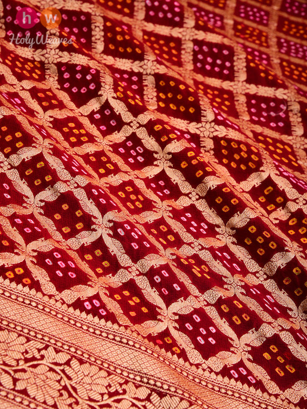 Maroon Cutwork Brocade Handwoven Khaddi Georgette Dupatta with 2-color Bandhej- HolyWeaves
