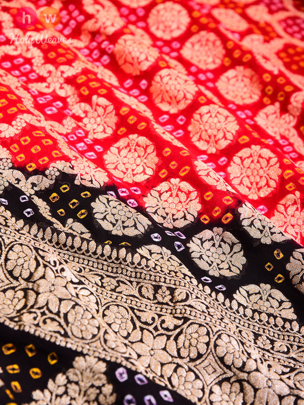Red-Black Cutwork Brocade Handwoven Khaddi Georgette Dupatta with 2-color Bandhej- HolyWeaves