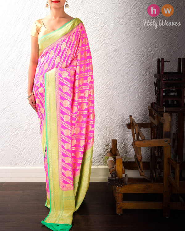 Pink-Green Banarasi Cutwork Brocade Handwoven Khaddi (खड्डी) Georgette Saree with Diagonal Floral Bel- HolyWeaves