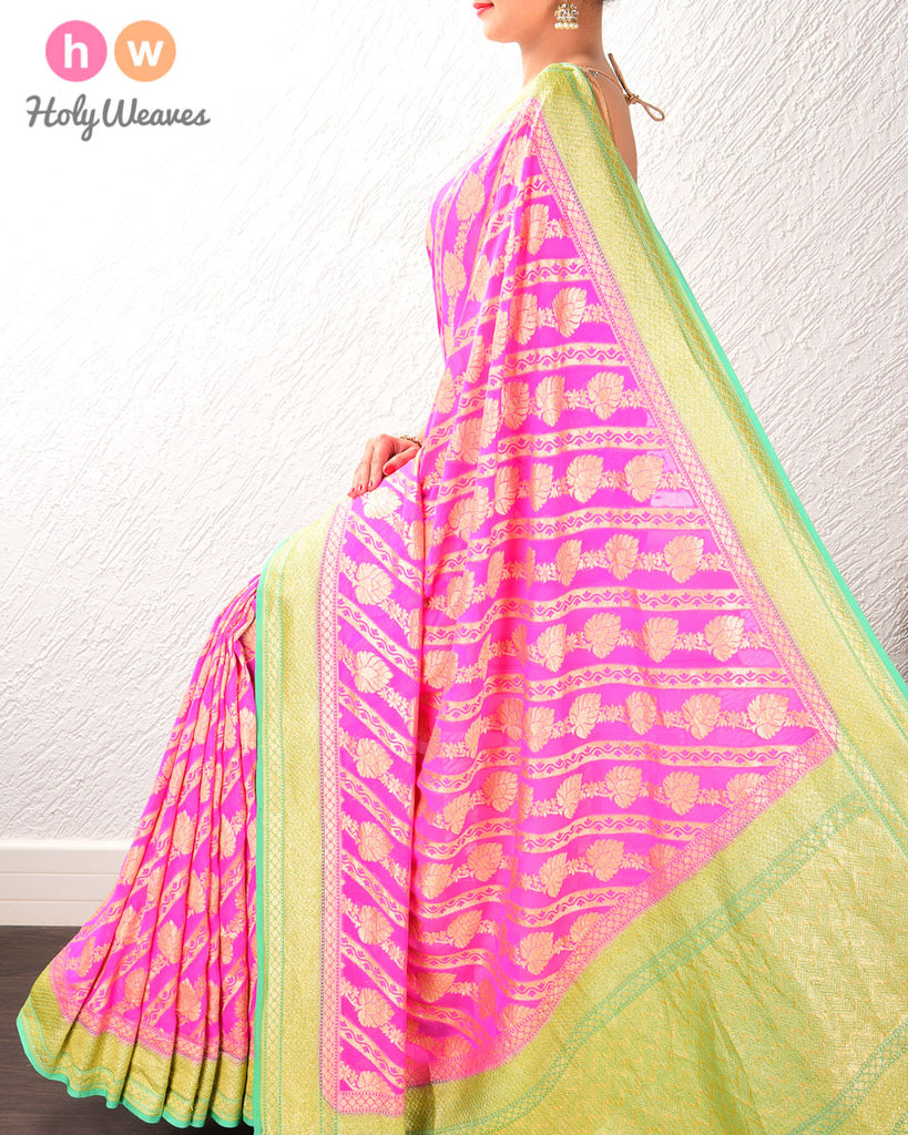 Pink-Green Banarasi Cutwork Brocade Handwoven Khaddi Georgette Saree with Diagonal Floral Bel