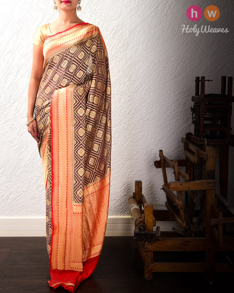 Brown Banarasi Geometric Jaal Cutwork Brocade Handwoven Khaddi (खड्डी) Georgette Saree with Contrast Red Border Pallu