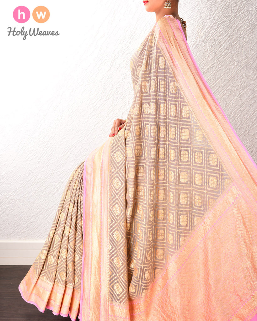Grey Banarasi Cutwork Brocade Handwoven Khaddi Georgette Saree with Pink border