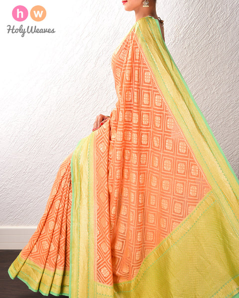 Orange Banarasi Cutwork Brocade Handwoven Khaddi Georgette Saree with Green border