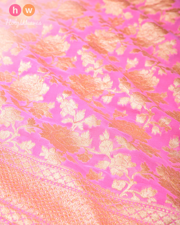Pink Banarasi Cutwork Brocade Handwoven Khaddi Georgette Saree with Floral Jaal- HolyWeaves
