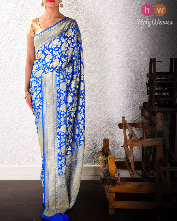 Royal Blue Banarasi Cutwork Brocade Handwoven Khaddi Georgette Saree with Floral Zari Jaal- HolyWeaves