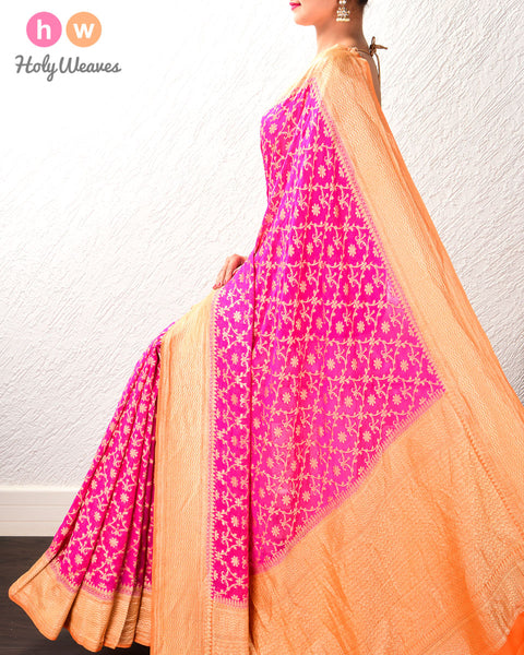 Fuchsia Pink Banarasi Jaal Cutwork Brocade Handwoven Khaddi (खड्डी) Georgette Saree with Contrast Orange Border
