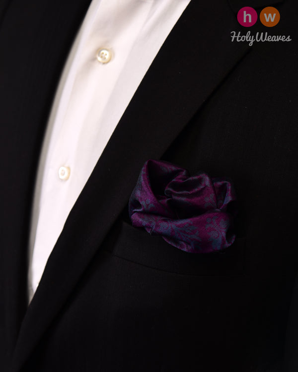 Byzantium Purple Tanchoi Handwoven Silk Pocket Square - HolyWeaves