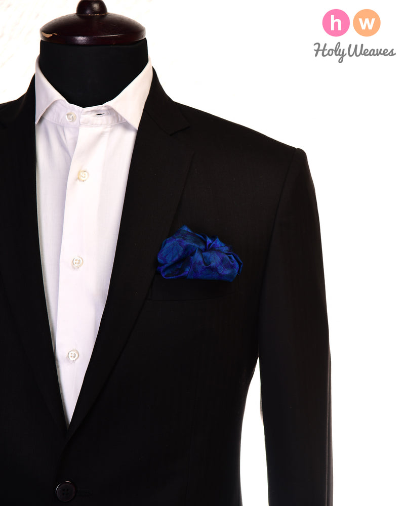 Midnight Blue Tanchoi Handwoven Silk Pocket Square - HolyWeaves