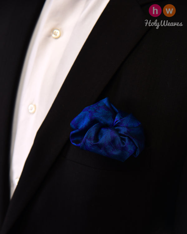 Midnight Blue Tanchoi Handwoven Silk Pocket Square