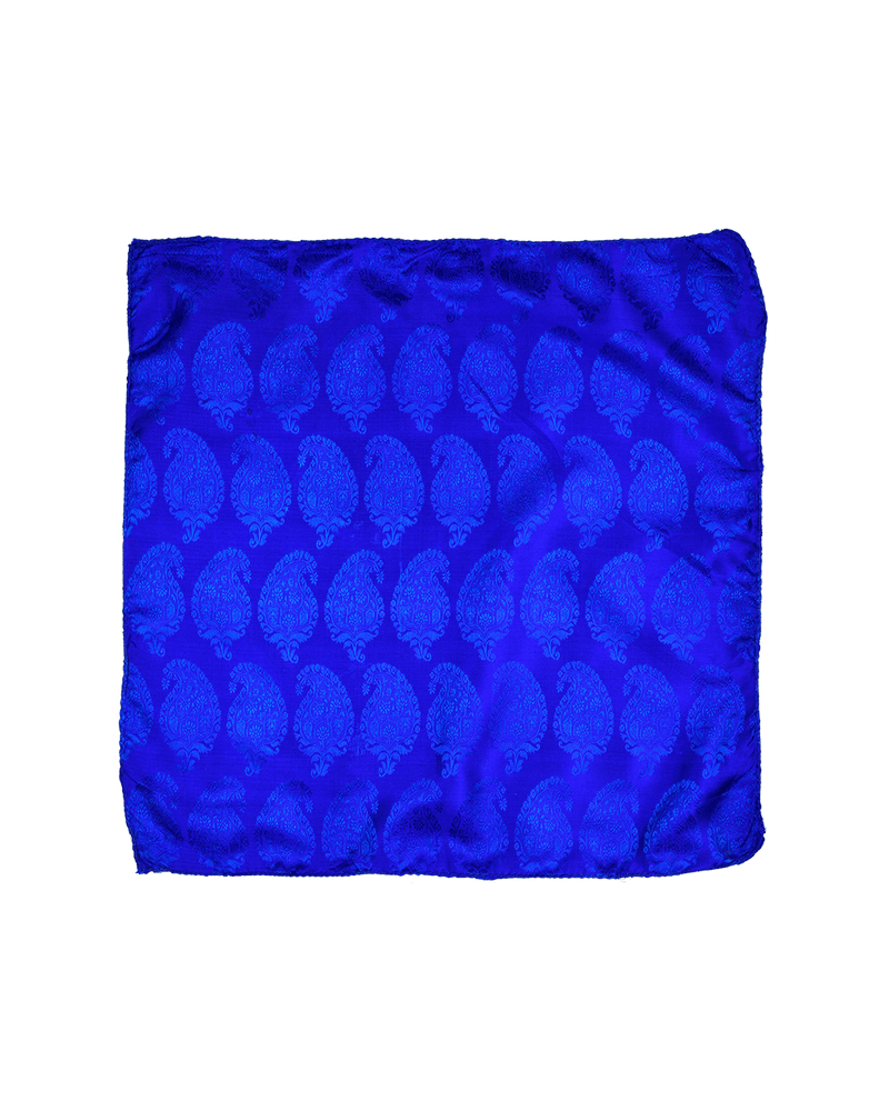 Prussian Blue Tanchoi Handwoven Silk Pocket Square - HolyWeaves