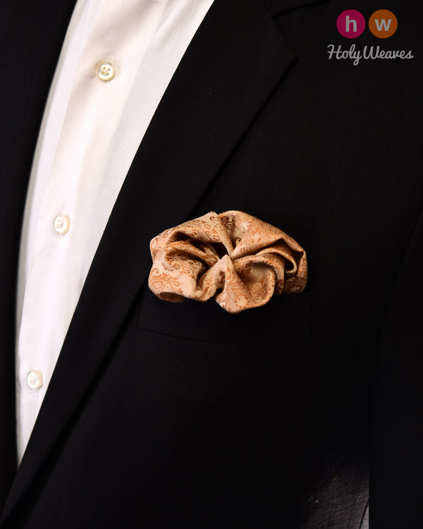 Beige Tanchoi Handwoven Silk Pocket Square - HolyWeaves