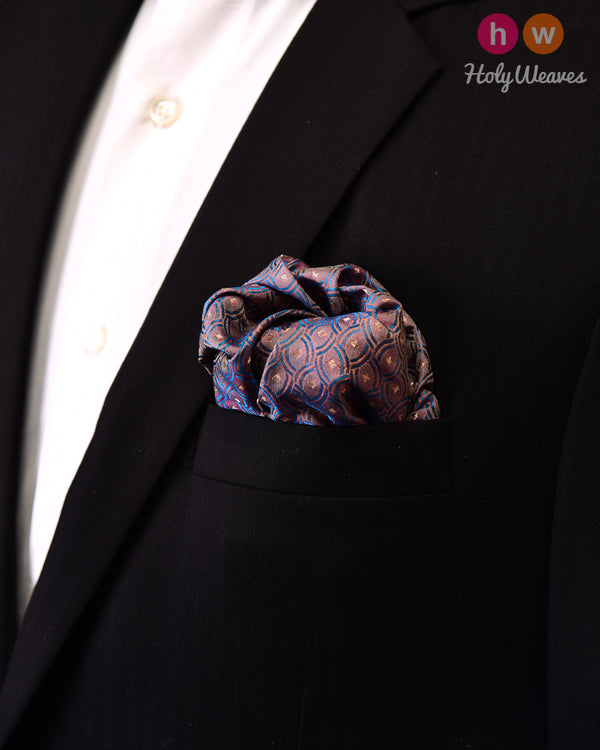 English Lavender Tanchoi Handwoven Silk Pocket Square with Zari buti - HolyWeaves