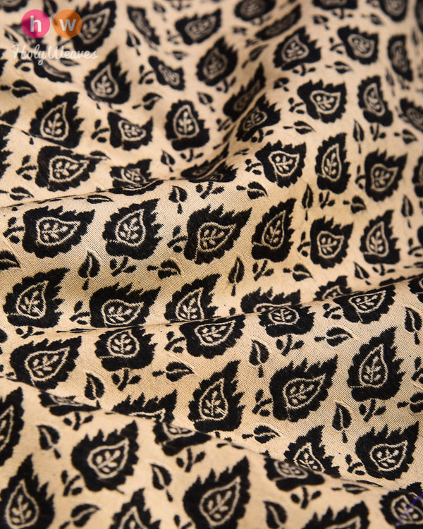 Beige-Black Tanchoi Handwoven Cotton Silk Pocket Square - HolyWeaves