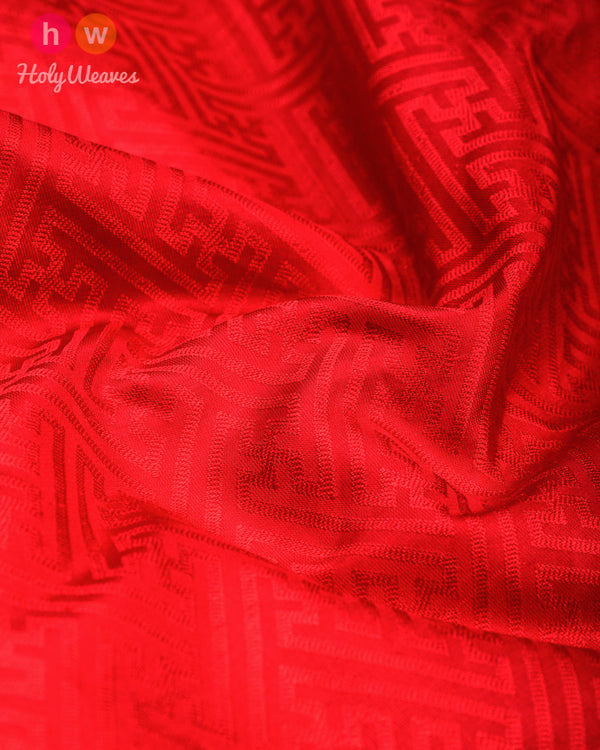 Red Tanchoi Handwoven Silk Pocket Square - HolyWeaves