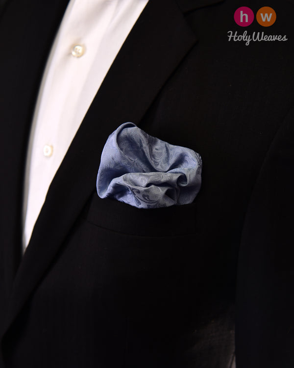 Cadet Gray Tanchoi Handwoven Silk Pocket Square