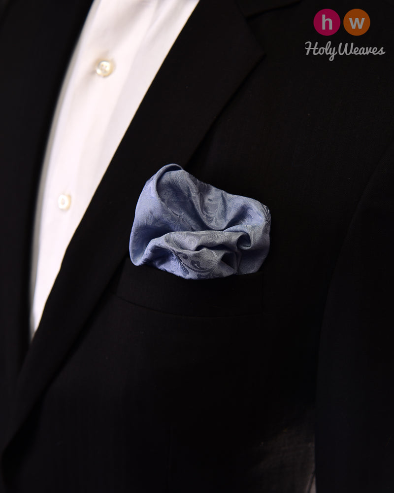 Cadet Gray Tanchoi Handwoven Silk Pocket Square - HolyWeaves