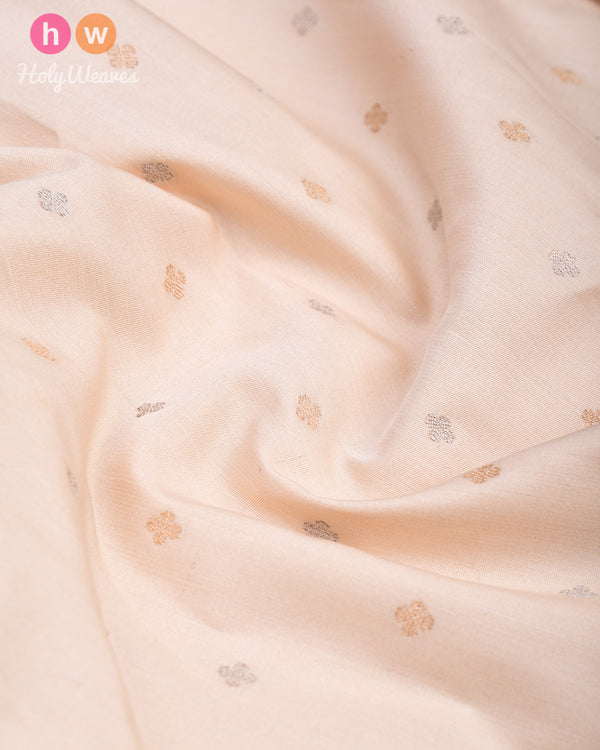 Cream Brocade Handwoven Muga Silk Pocket Square with Gold & Silver Zari Buti - HolyWeaves