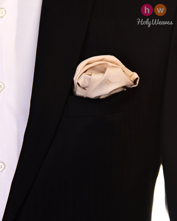 Cream Brocade Handwoven Muga Silk Pocket Square with Gold & Silver Zari Buti