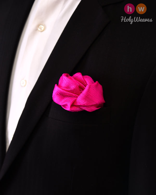 Fuchsia Pink Handwoven Raw Silk Pocket Square - HolyWeaves