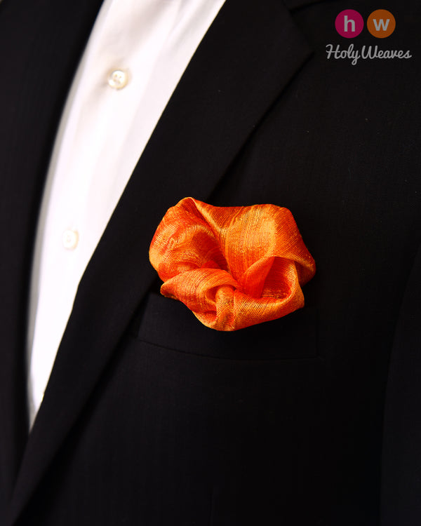 Orange Handwoven Raw Silk Pocket Square