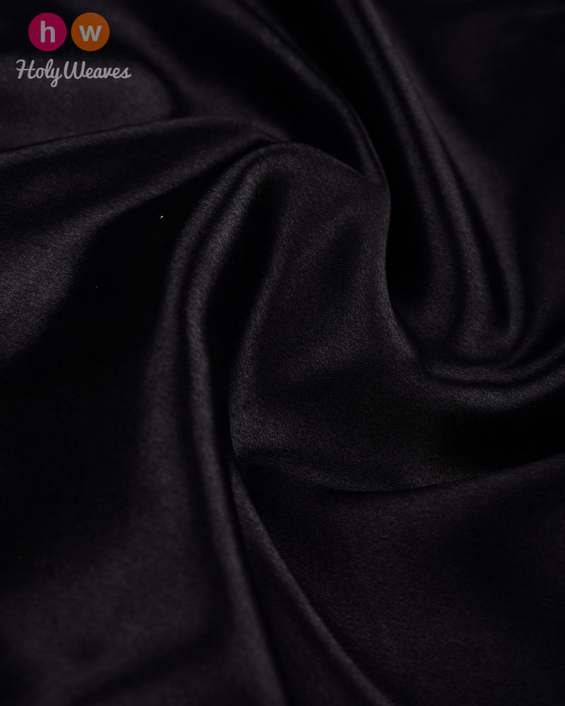 Black Handwoven Art Silk Pocket Square - HolyWeaves