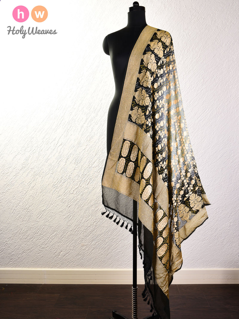 Grey-Black Cutwork Brocade Handwoven Khaddi Georgette Dupatta with 2-color Bandhej- HolyWeaves