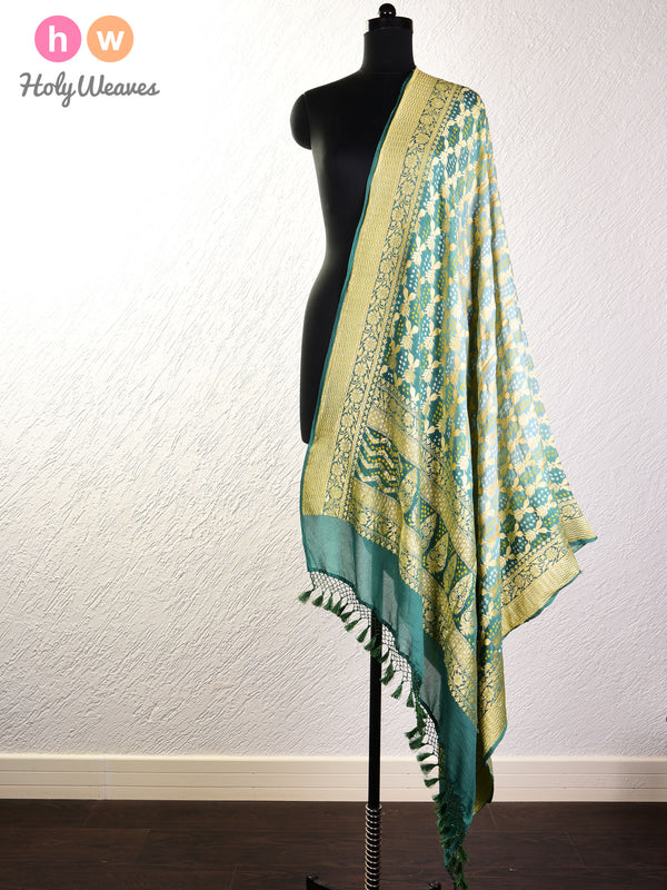Opal Green Cutwork Brocade Handwoven Khaddi Georgette Dupatta with 2-color Bandhej- HolyWeaves
