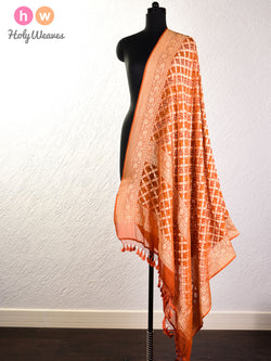 Cider Brown Cutwork Brocade Handwoven Khaddi Georgette Dupatta with 2-color Bandhej- HolyWeaves