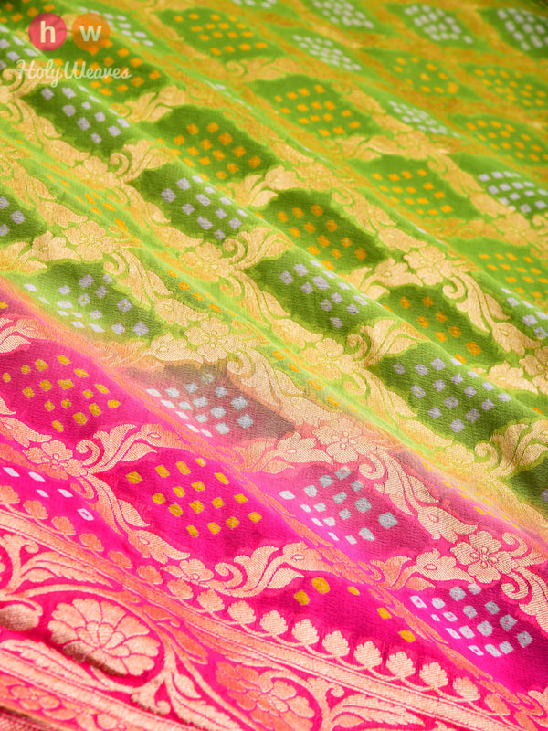 Green-Pink Cutwork Brocade Handwoven Khaddi Georgette Dupatta with 2-color Bandhej- HolyWeaves