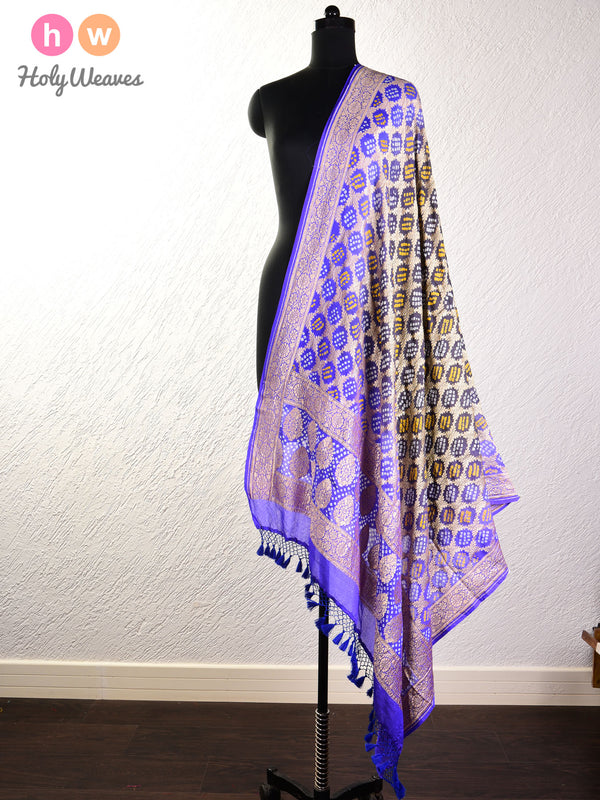 Amethyst Cutwork Brocade Handwoven Khaddi Georgette Dupatta with 2-color Bandhej- HolyWeaves