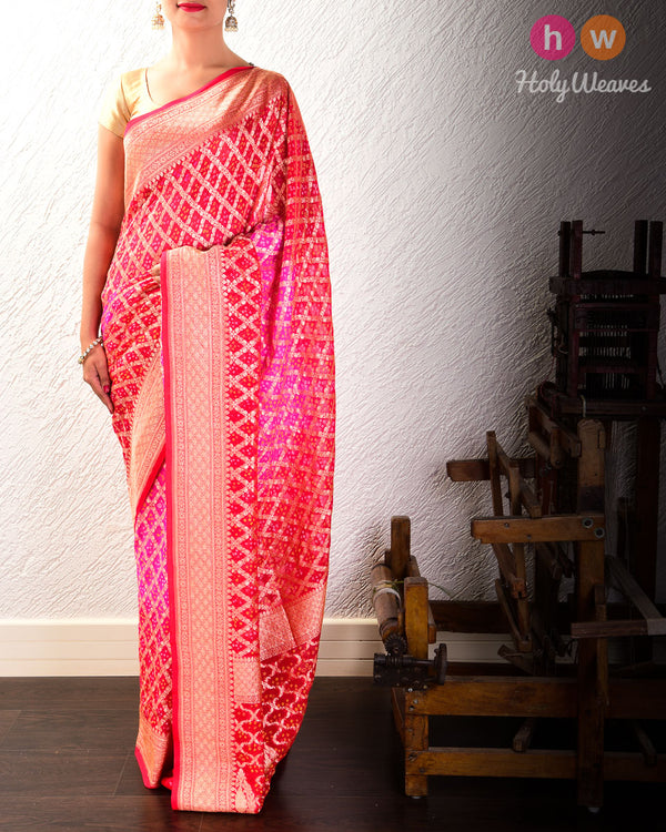 Pink-Red Cutwork Brocade Handwoven Khaddi Georgette Saree with 2-color Bandhej- HolyWeaves