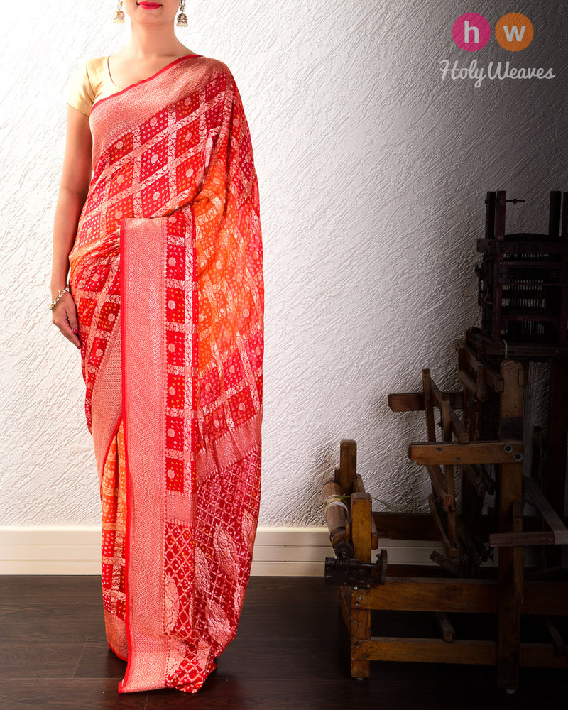 Red-Orange Cutwork Brocade Handwoven Khaddi Georgette Saree with 2-color Bandhej- HolyWeaves
