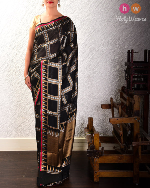 Black Chequered Alfi Cutwork Brocade Woven Cotton Silk Saree with Temple Border- HolyWeaves