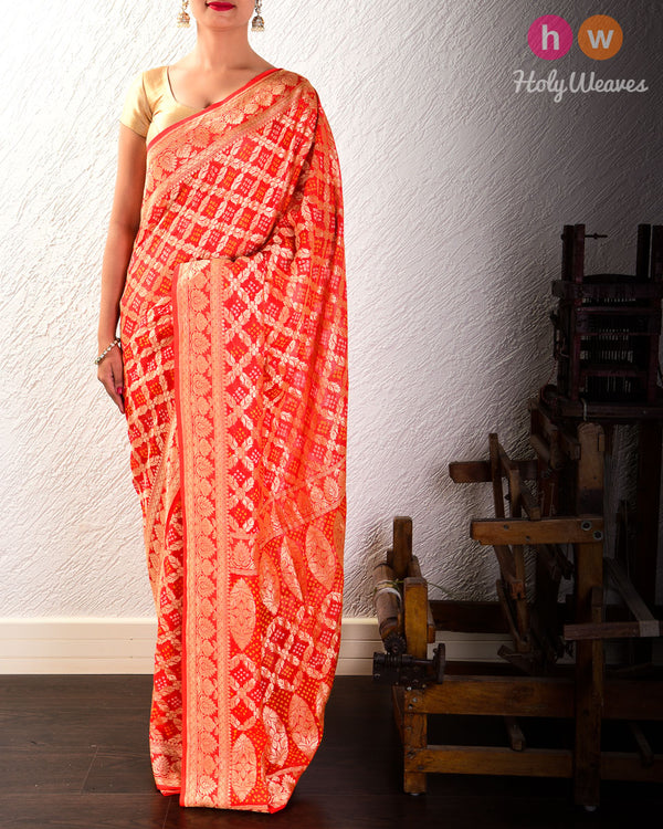 Orange Cutwork Brocade Handwoven Khaddi Georgette Saree with 2-color Bandhej- HolyWeaves