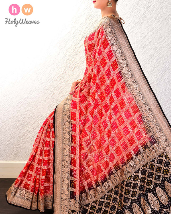 Red-Black Cutwork Brocade Handwoven Khaddi Georgette Saree with 2-color Bandhej - HolyWeaves