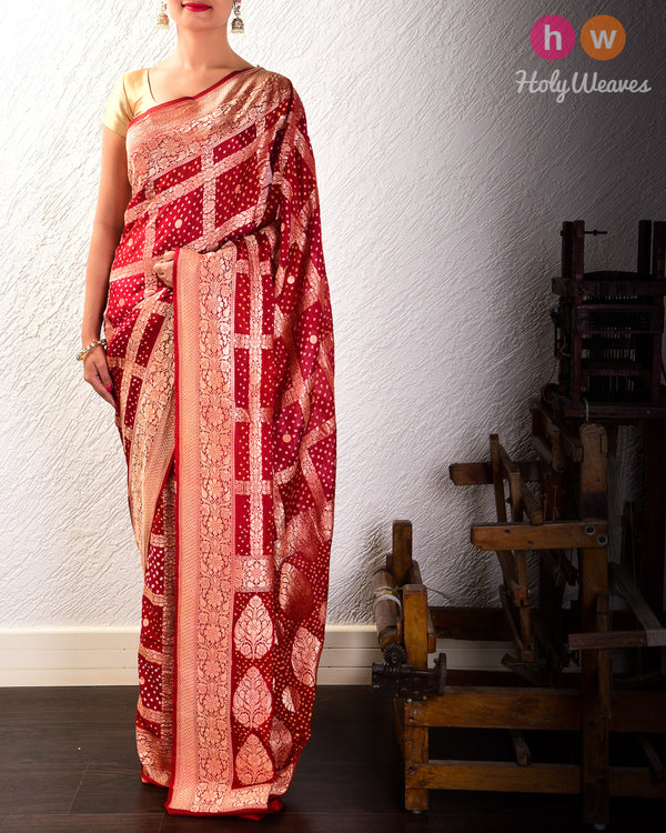 Maroon Cutwork Brocade Handwoven Khaddi Georgette Saree with 2-color Bandhej- HolyWeaves